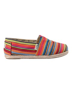 Canvas Espadrilles With Rope Detail Classic Raw Stripes Pink Pink