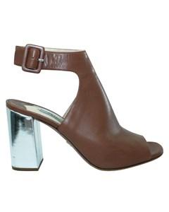 Brown Leder Block Heels