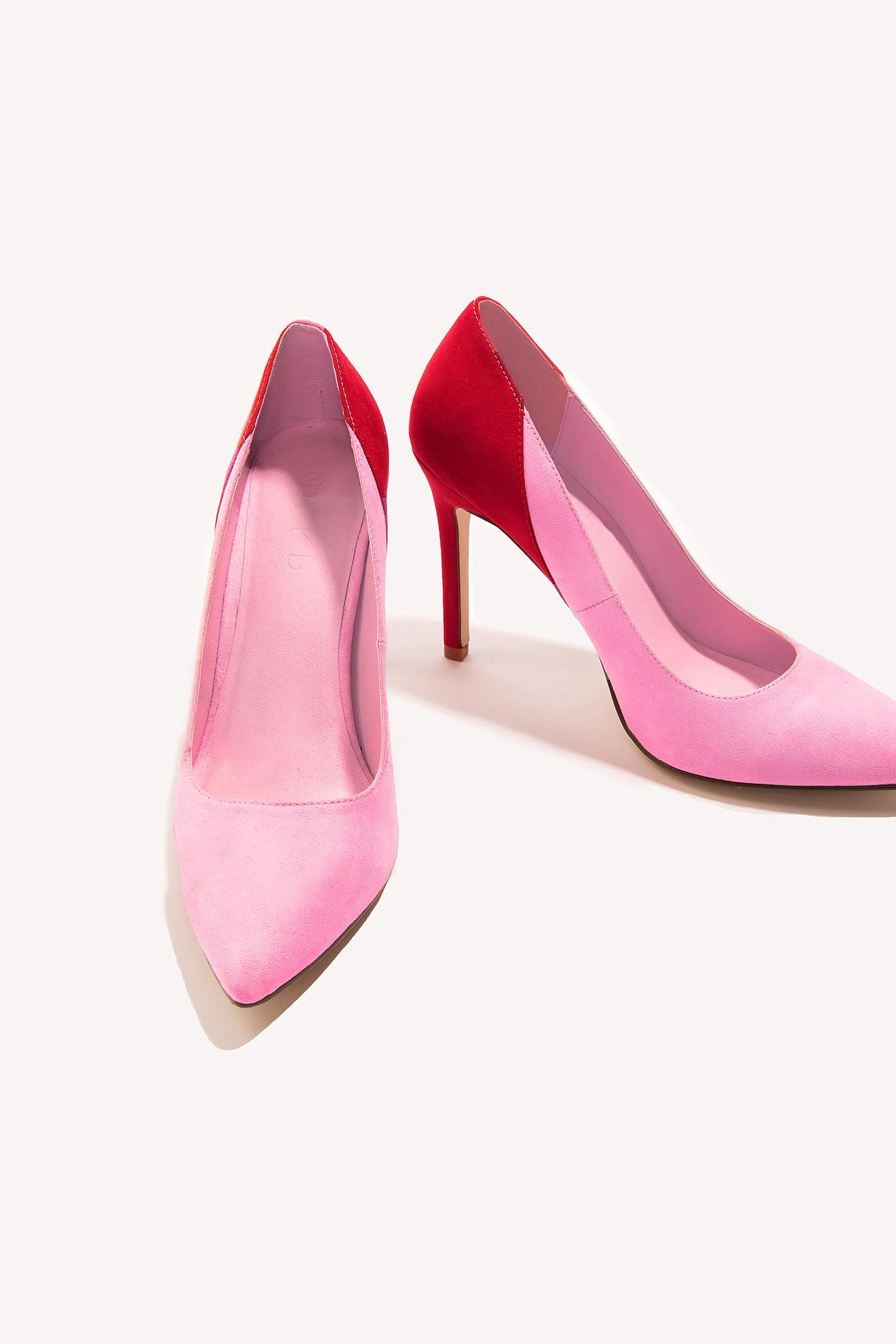 4fc1b09eb4 Block Color Mid Heel Pump Pink - The Block Color Mid Heel Pump by NA-