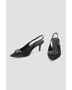 Dark Embellished Kitten Heel Pumps  Black