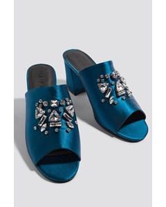 Embellished Mule Sandals Petrol Blue