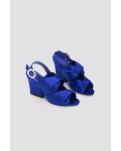 Peep Toe Block Sandals Cobalt
