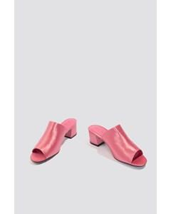 Satin Low Heel Mule Sandals Old Pink