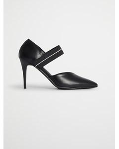 Pointy Strap Heels Black