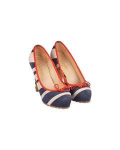 Chanel Red Navy White Suede Striped Pumps Heels Size 36.5