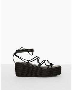 Braided Strap Plateau Heel Black