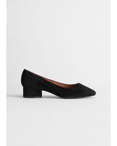 Suede Ballerina Heeled Pumps Black