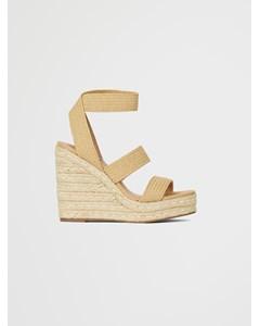 Shimmy Wedge Sandal B Nat Raffia