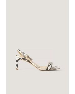 Snake Basic Block Heel Sandals Natural