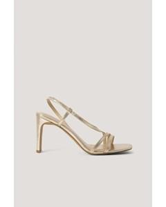 Asymmetric Strap Heels Gold Metallic
