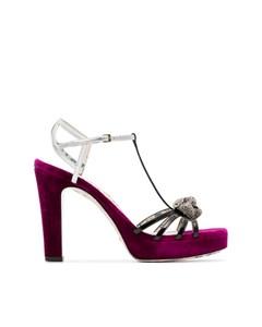 Gucci Elias Velvet Platform Sandals Purple