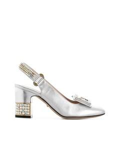 Gucci Crystal G Embellished Pumps Silver