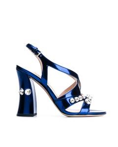 Miu Miu Embellished Patent Leather Sandals Blue