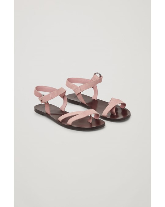 COS Strappy Suede Sandals  Pink