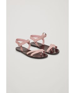 Strappy Suede Sandals  Pink