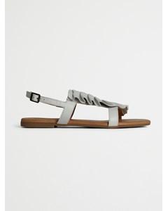 Biabitt Leather Frill Sandal  White