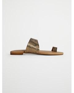 Biacai Leather Toe Sandal  Gold
