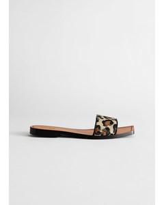 Leather Square Toe Slip On Sandals Leopard