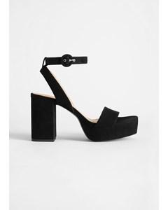 Suede Platform Heeled Sandals Black