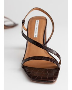 Strappy Croc Heeled Leather Sandals Brown Croc