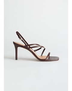 Strappy Leather Heeled Sandal Brown