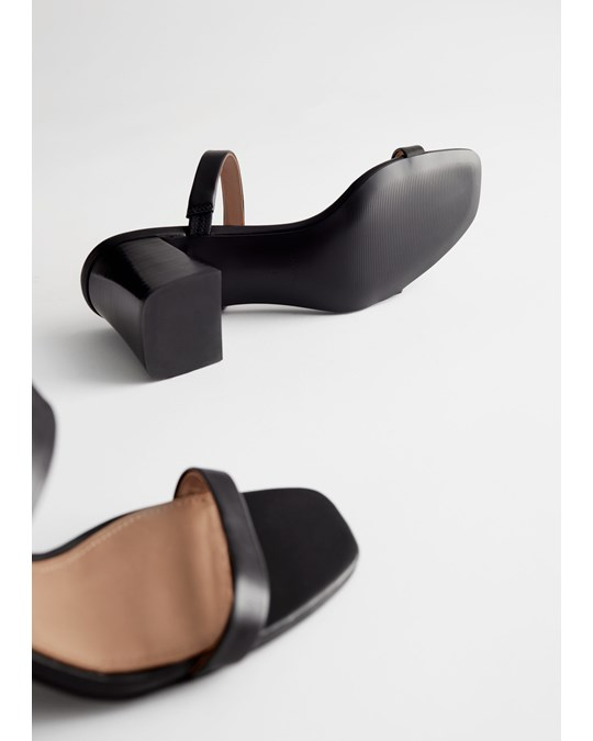 & Other Stories Duo Strap Leather Heeled Sandals Black