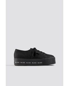 Branded Flatform Sneaker Black-white