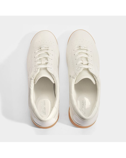 Michael Kors Addie Lace Sneakers In White Nappa Leather 085white