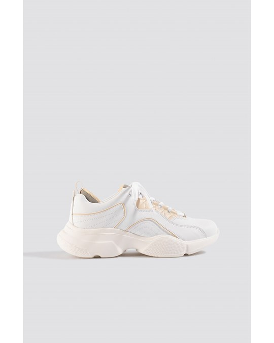 NA-KD Loop Lacing Trainers White/nude