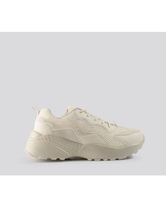 Big Mesh Rubber Detail Trainers Beige