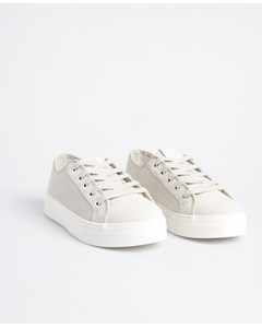 Womens Flatform Sleek Trainer Silver Cloud