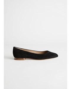 Suede Ballerina Flats Black
