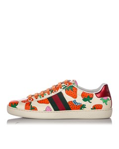 Gucci Web Strawberry Ace Leather Sneaker White