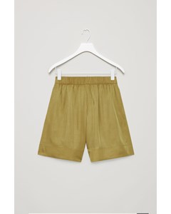 Wide Elastic-waist Shorts