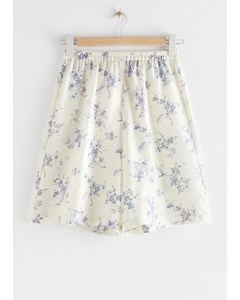 Relaxed Silk Shorts White Florals