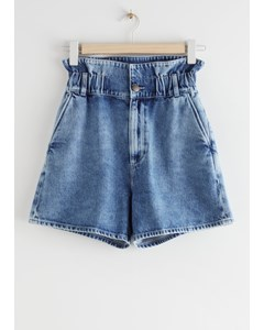 Paperbag Waist Jeans Shorts Mid Blue