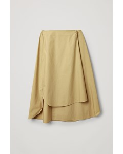 Twisted Cotton Wrap Skirt Beige