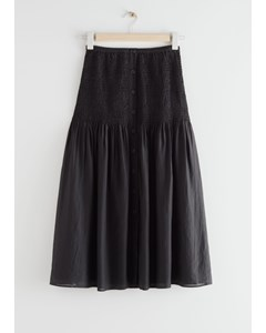 Smocked Buttoned Midi Skirt Black
