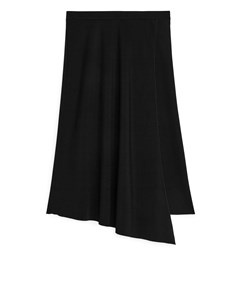 Asymmetric A-line Midi Skirt Black