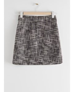 Tailored High Waisted Tweed Mini Skirt Black