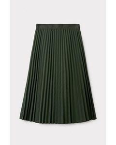 Pleated Twill Utility Skirt Green
