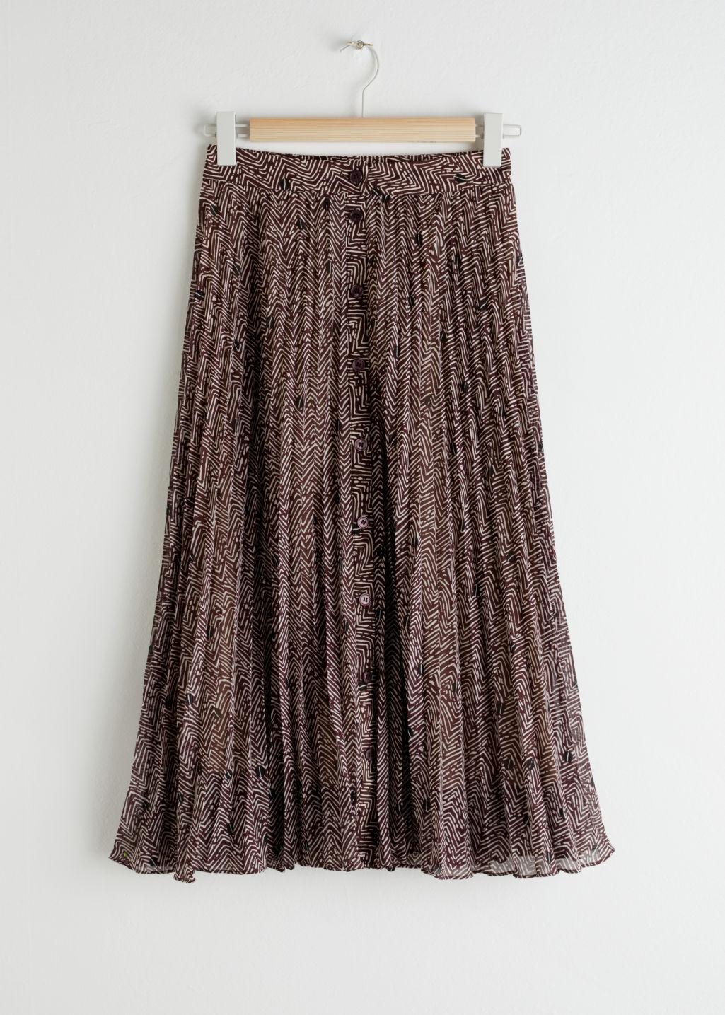 Escames plisserad midi kjol brun