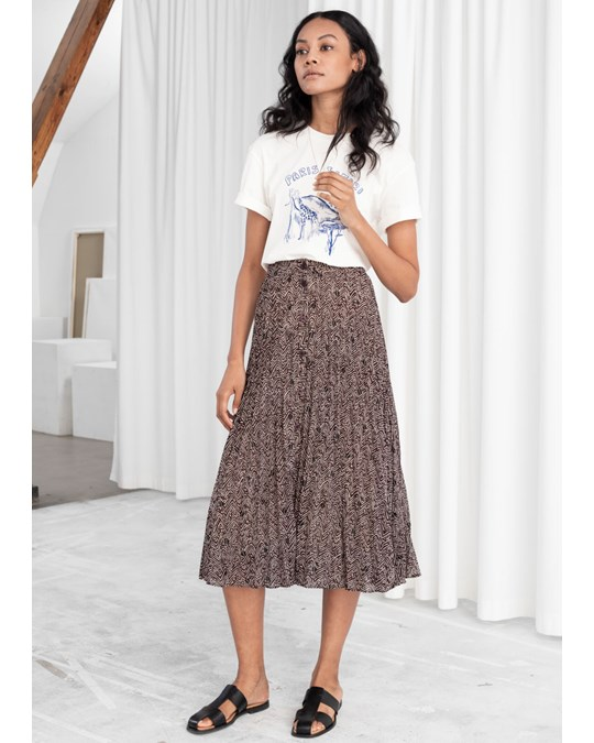 & Other Stories Escames Pleated Midi Skirt Brown