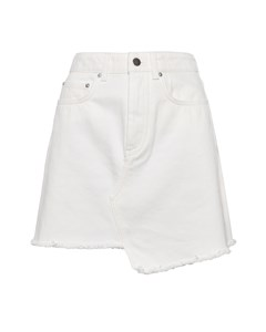 Raw Edge Denim Skirt White White