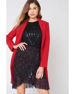 Mesh Overlap Mini Skirt  Red Lip Print