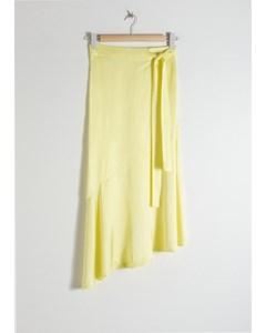 Asymmetric Satin Midi Skirt Light Yellow