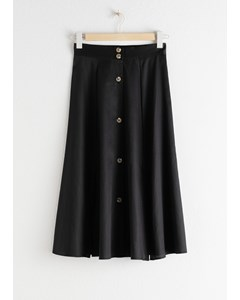 Flared Button Up Midi Skirt Black