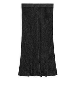 Fine-knit Glittery Skirt Black/silver