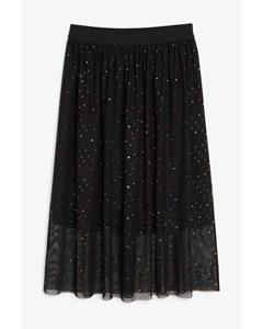 Chiffon Midi Skirt Black With Dots