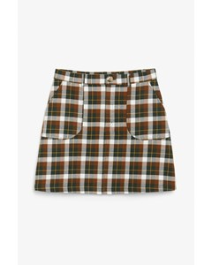 A-line Mini Skirt Brown Plaid